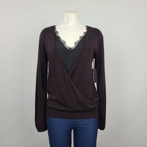 Black Tape Burgundy Knit Crossover Top Size S NWT